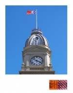 'Melbourne to Flemington R.C. (First Class)' Flag flying at North Melbourne Town Hall 2013 by Peter Atkins